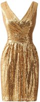 JAEDEN Simple Gold Bridesmaid Dresses Short Sequin Dress for Prom Party XL