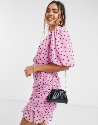 ASOS DESIGN wrap front ruched bodycon mini dress with puff sleeves in polka dot