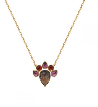 Perle de Lune Queen Necklace - Smoky Quartz, Pink Tourmaline, Red Garnet, 18K Gold