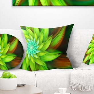 """clear East Urban Home Floral Huge Fractal Flower Pillow East Urban Home Size: 16"""" x 16"""", Product Type: Throw Pillow"""