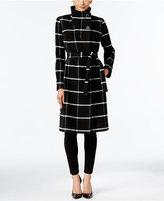 Ivanka Trump Faux-Wrap Plaid Walker Coat
