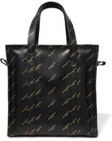 Balenciaga Bazar Printed Leather Tote - Black