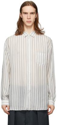Maison Margiela White and Blue Striped Long Sleeve Shirt