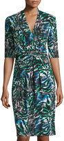 T Tahari Lexia Half-Sleeve Printed Jersey Dress, Palm