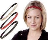 Hipsy Women's NO SLIP Skinny Bling Glitter Headband Multi 3pk