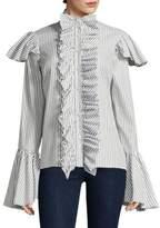 Caroline Constas Marla Stripe Bell-Sleeve Cotton Button-Down Shirt