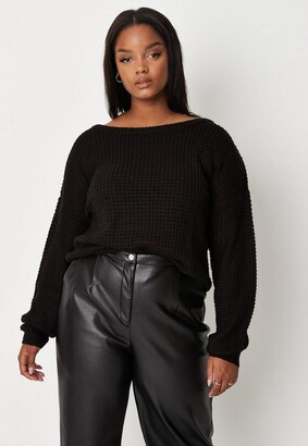 Missguided Size Black Waffle Knit Off The Shoulder Jumper