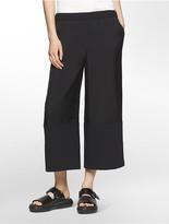 Calvin Klein Platinum Twill + Crepe Semi-Cropped Wide-Leg Pants