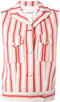 Michel Klein sleeveless striped jacket - women - Silk/Cotton/Linen/Flax - 34