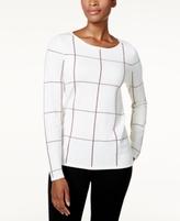 Charter Club Petite Windowpane Sweater, Created for Macy's