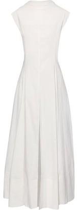 Jil Sander Tie-back Pintucked Cotton-blend Poplin Maxi Dress
