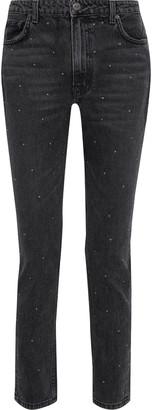 Reformation Harley Studded Distressed High-rise Slim-leg Jeans