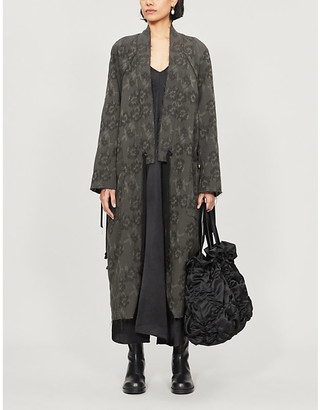 Song For The Mute Floral-embroidered cotton and wool-blend coat
