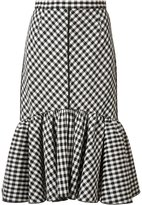 Tome pleated trim checked skirt - women - Cotton - 0