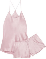 Olivia von Halle - Bella Silk-satin Pajama Set - Pastel pink