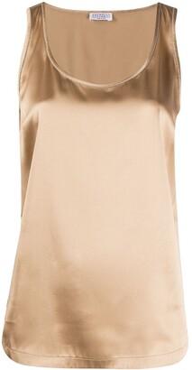 Brunello Cucinelli Shiny Trim Silk Top
