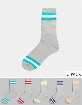 Topman 5 pack tube socks in gray with double stripe