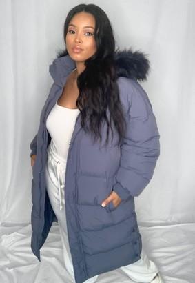 Missguided Plus Size Blue Faux Fur Hooded Longline Puffer Coat