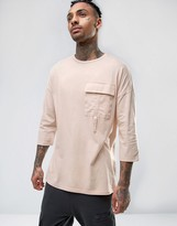 Asos Oversized T-Shirt With 3/4 Sleeve And Utility Pocket