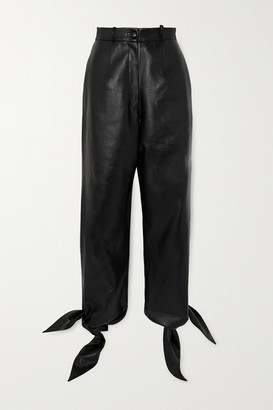 MATÉRIEL Knotted Faux Leather Tapered Pants - Black