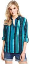 Joe Fresh Women's Print Weekend Shirt, Dark Teal (Size S)