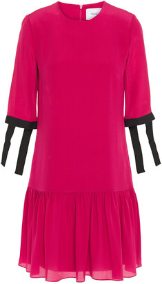 Erdem Emmie Grosgrain-trimmed Silk Crepe De Chine Dress