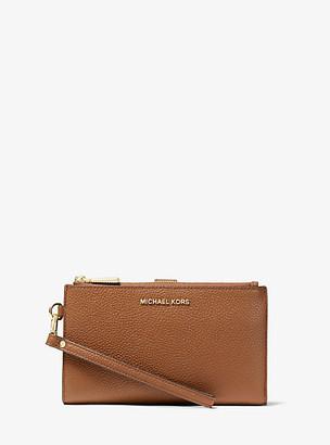 MICHAEL Michael Kors MK Adele Pebbled Leather Smartphone Wallet - Black - Michael Kors