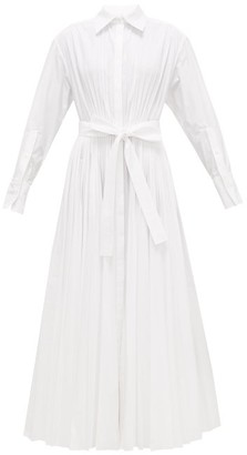 Valentino Pleated Cotton-blend Maxi Shirt Dress - White