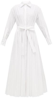 Valentino Pleated Cotton-blend Maxi Shirt Dress - Womens - White