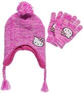 "Hello Kitty Sweet Yarn"" Earflap Beanie & Gloves Set"