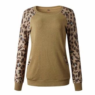 AILIEE Sweatshirt for Women Leopard Patchwork Long Sleeve Sweatshirt Pullover Shirts Top Blouse Oversized T Shirts for Women Brown Sweatshirt Long Sleeve T Shirt Women Blouses for Women S-XL