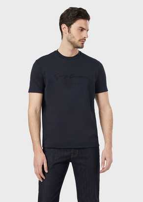 Giorgio Armani T-Shirt In Cotton Jersey With Logo Print