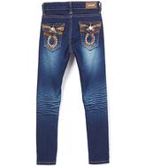 Medium Wash Gold Thread Straight-Leg Jeans - Girls