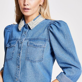 River Island Petite blue pearl collar denim shirt