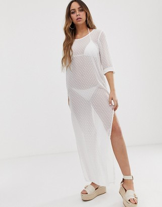 Tavik polka dot maxi beach dress in white