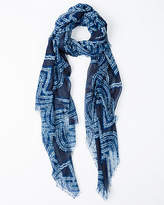 Le Château Abstract Print Voile Scarf