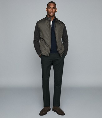 Reiss Harlow - Wadded Jacket With Knitted Sleeves in Sage