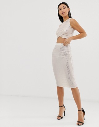 Club L sparkle bodycon skirt co-ord in mink