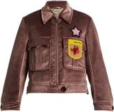 Miu Miu Embellished-appliqué velvet jacket