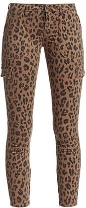 Frame Mid-Rise Skinny Cargo Cheetah-Print Jeans