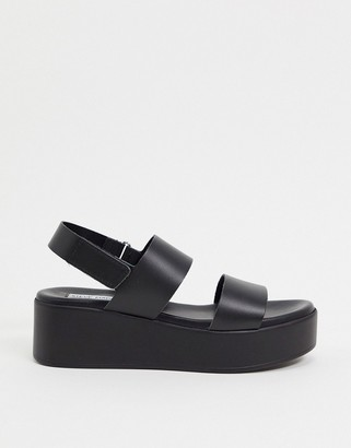 Steve Madden Rachel flatform sandals black leather
