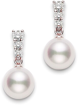 Mikimoto Morning Dew Diamond & Pearl Earrings