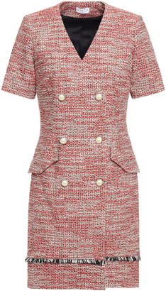 Claudie Pierlot Double-breasted Pleated Cotton-blend Tweed Mini Dress