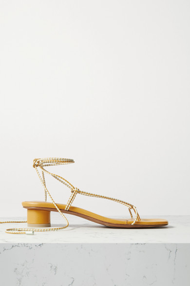 LOQ Dora Lace-up Leather Sandals - Mustard