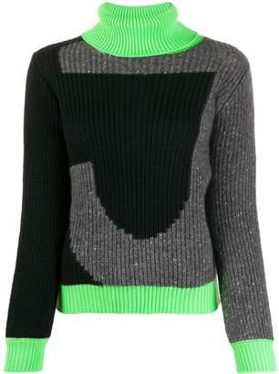 Just Cavalli colour blocked roll neck jumper