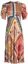 Etro Mosaic Tile-Print Puff-Sleeve Midi Dress