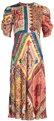 Etro Mosaic Tile-Print Puff-Sleeve Midi Dress
