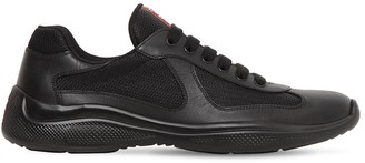 "Prada ""america's Cup"" Leather & Mesh Sneakers"