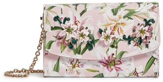 Dolce & Gabbana Leather Lily Print Wallet Bag