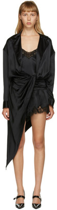 Alexander Wang Black Silk Draped Slip Dress